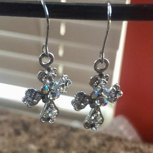 High Quality Like New Crystal Cross Earrings